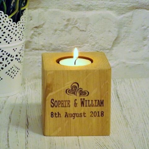 Personalised Two Hearts T Light Candle Holder English Oak Wood